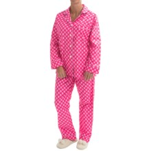 BedHead Printed Cotton Poplin Pajamas - Long Sleeve (For Women) in Baked W/Love Pink - Closeouts