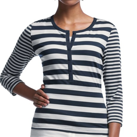 Icebreaker Tech Lite Stripe Henley Shirt - UPF 20+, Merino Wool, 3/4 Sleeve (For Women)