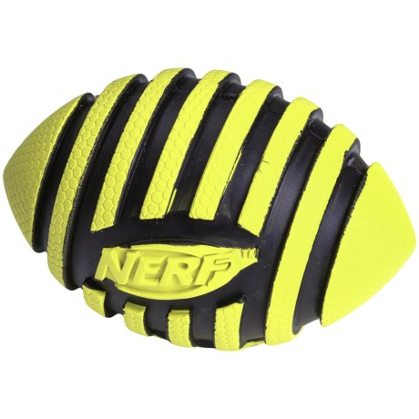"Nerf Dog Rubber Spiral Squeak Football Dog Toy - 3.5"""