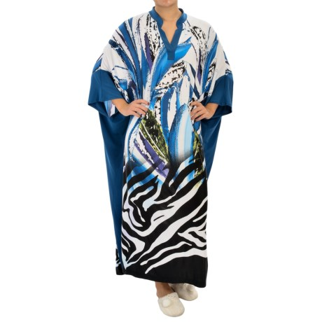 Diamond Tea V-Neck Caftan - 3/4 Sleeve (For Women)