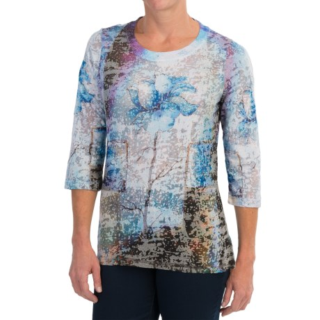 FDJ French Dressing Burnout Print Shirt - 3/4 Sleeve (For Women)