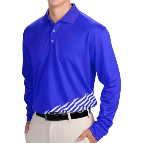Tabasco Sport Diagonal Stripe Polo Shirt - Long Sleeve (For Men and Big Men)
