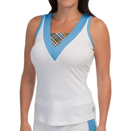 Jofit Woven Insert Tennis Tank Top - V-Neck (For Women)