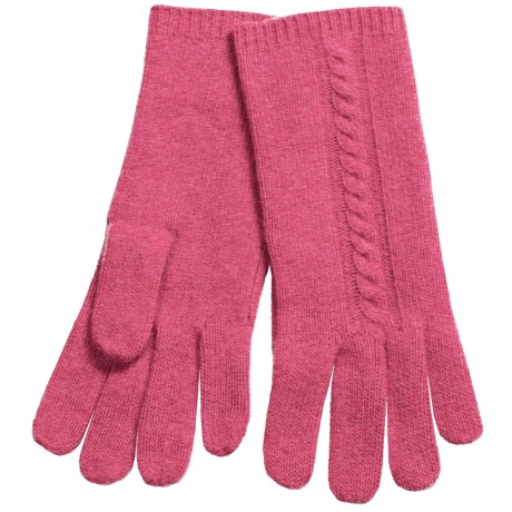 """Portolano 10"""" Cashmere Gloves - Cable-Knit Detail (For Women)"""