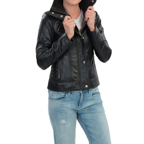 Cole Haan Lambskin Leather Jacket (For Women)