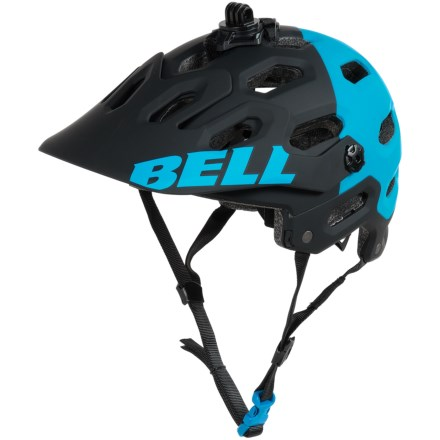 Bell Super 2 Mountain Bike Helmet (For Men and Women) in Matte Black/Blue Aggression - Closeouts