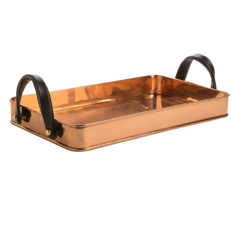 Old Dutch International Cheyenne Copper Tray - Leather Handles