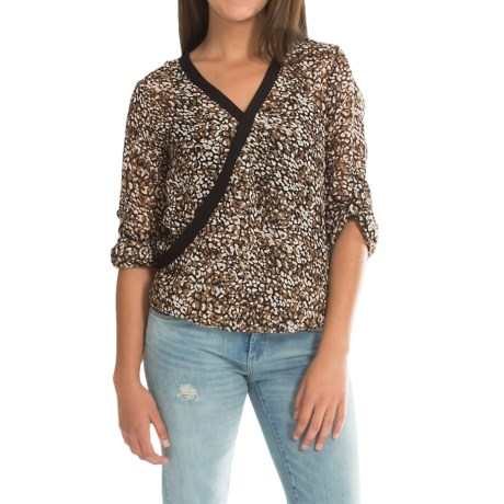 Dex Wraparound Chiffon Print Shirt - 3/4 Sleeve (For Women)