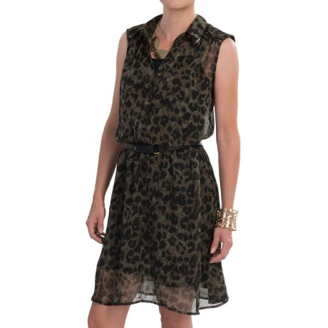 Dex Chiffon Print Dress - Belted, Sleeveless (For Women)