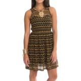 Dex Zigzag Lace Dress - Keyhole Back, Sleeveless (For Women)
