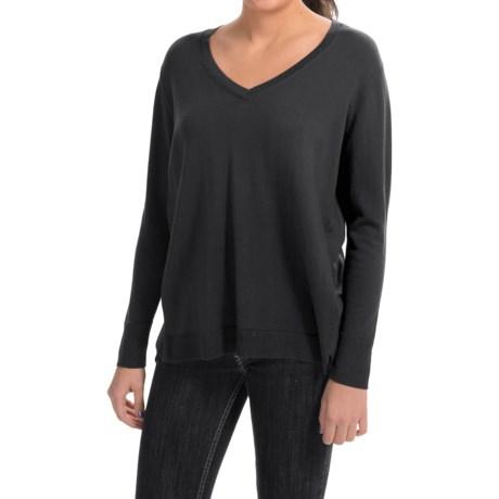 August Silk V-Neck Sweater - Semi-Sheer Back Panel (For Women)