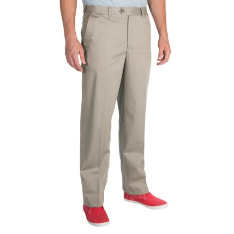 Cotton Twill Pants - Flat Front (For Men)