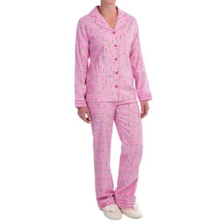 Munki Munki Printed Flannel Pajamas - Long Sleeve (For Women)