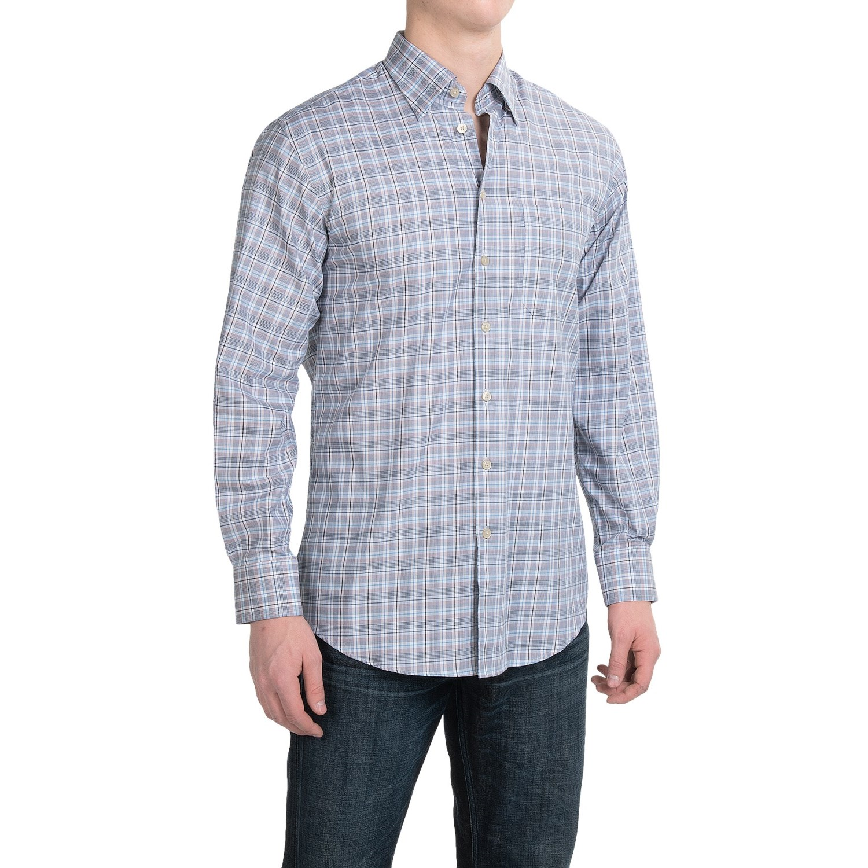 Scott barber andrew plaid shirt for men 9851j save 87 for Hidden button down collar shirts