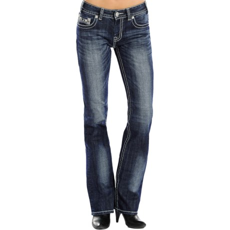 Rock & Roll Cowgirl Leather and Rhinestone Jeans - Mid Rise, Bootcut (For Women)