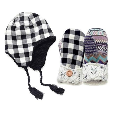 Muk Luks Festival Plaid Hat and Pot Holder Mittens - Berber Fleece Lined (For Women)