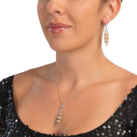 Chapal Beaded Jasper Necklace and Earring Set - Sterling Silver (For Women)
