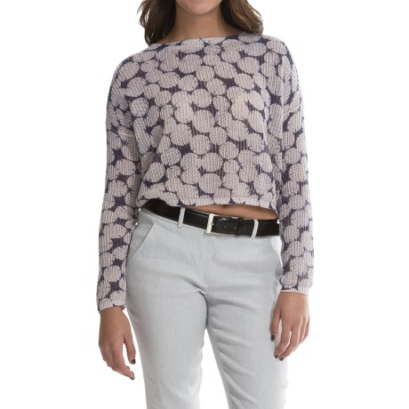 Olivaceous Jacquard Print Crop Sweater (For Women)