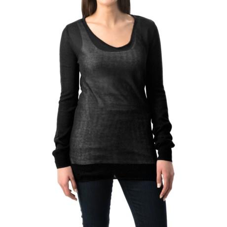 Uniq Open Weave V-Neck Sweater - Cutout Back (For Women)