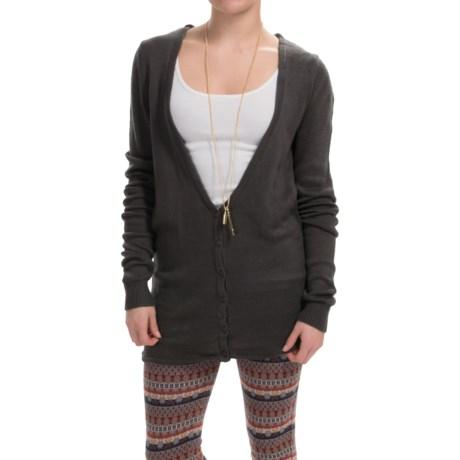 Uniq Deep-V Cardigan Sweater - Cutout Back (For Women)
