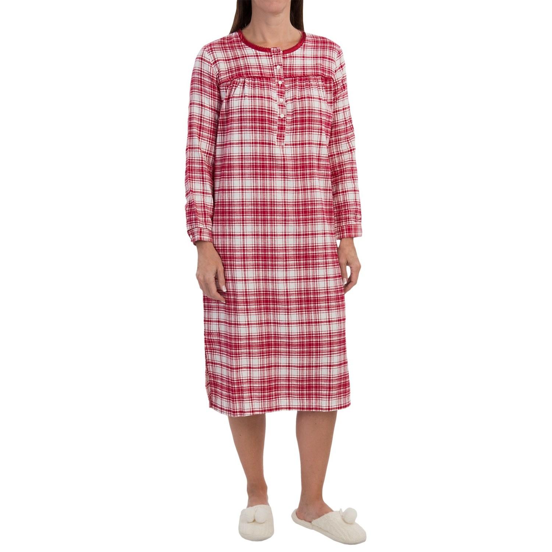 Nina capri flannel nightshirt for women 9875j save 50 for Womens flannel night shirts