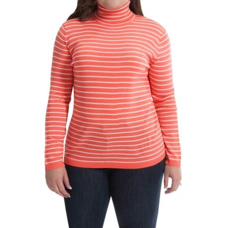 Merino Wool Stripe Turtleneck - Long Sleeve (For Plus Size Women)