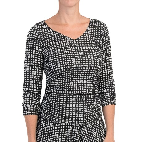 Specially made Checkered Mesh Nylon Shirt - Shirred Details, Long Sleeve (For Women)