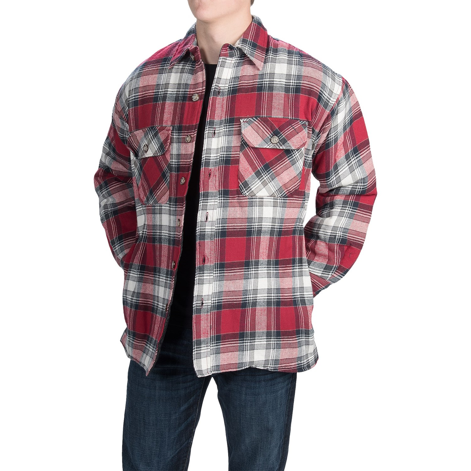 Stillwater supply co plaid shirt jacket for men 9891v for Plaid shirt jacket mens