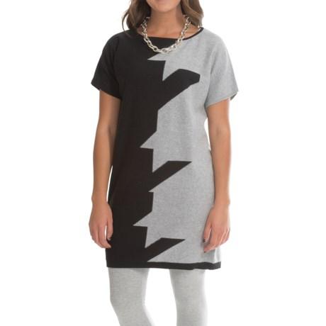 Joan Vass Houndstooth Cotton Dress - Short Sleeve (For Women)