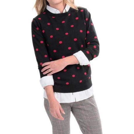 Joan Vass Polka-Dot Sweater - Button Back (For Women)