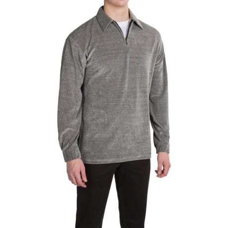 Velour Shirt - Zip Neck, Long Sleeve (For Men)