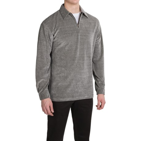 Velour Shirt - Zip Neck, Long Sleeve (For Men)
