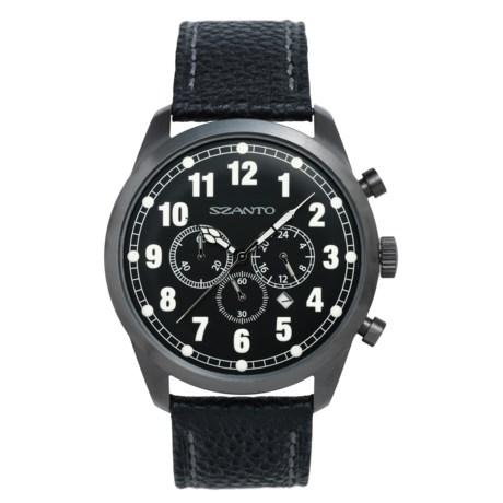 Szanto 2000 Series Classic Vintage Chronograph Watch - Pebbled Calfskin Strap (For Men)