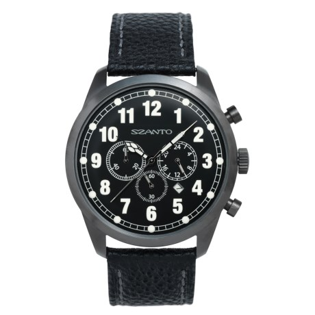 Szanto 2000 Series Classic Vintage Chronograph Watch - Pebbled Calfskin Strap (For Men)