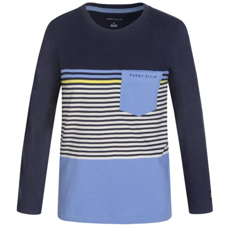 Perry Ellis English Stripe T-Shirt - Long Sleeve (For Big Boys)