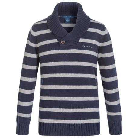 Perry Ellis Striped Sweater - Shawl Collar (For Big Boys)