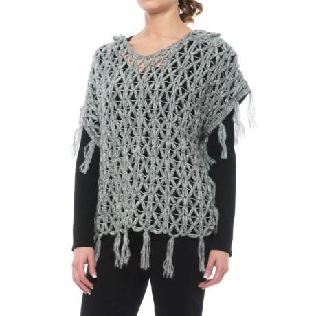 dylan Fringed Open-Crochet Sweater - Hooded, Short Sleeve (For Women)