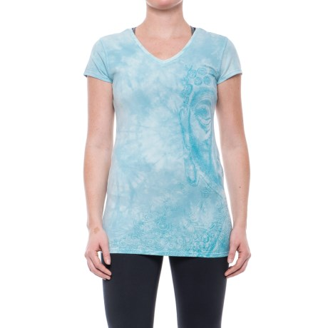 Earth Yoga Big Buddha Fade T-Shirt - Organic Cotton, Short Sleeve (For Women)