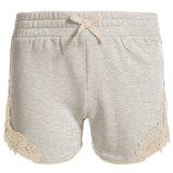 Specially made French Terry Lace Accent Shorts (For Little Girls)