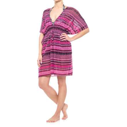 Profile by Gottex Indian Sunset Mesh Swimsuit Cover-Up - Drawstring Waist, Short Sleeve (For Women) in Multi - Closeouts