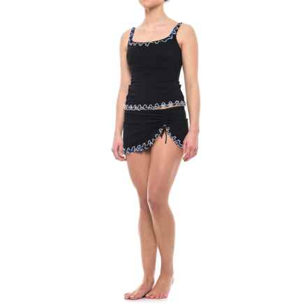 Profile by Gottex Indigo Girl Ruffle Edge Tankini Set - Padded Cups (For Women) in Black - Closeouts