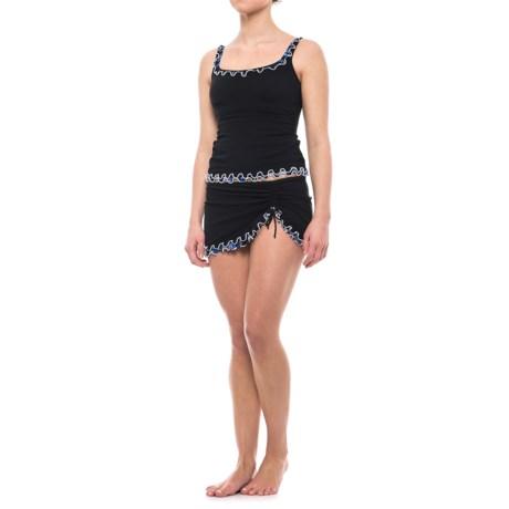 Profile by Gottex Indigo Girl Ruffle Edge Tankini Set - Padded Cups (For Women) in Black