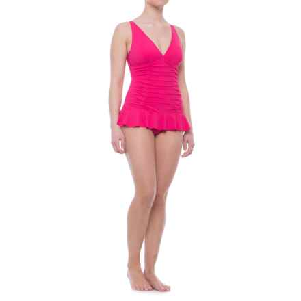 Profile by Gottex Origami Frill Skirted One-Piece Swimsuit (For Women) in Rose - Closeouts