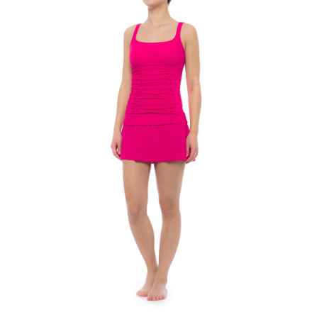 Profile by Gottex Origami Ruched Stomach Tankini Set (For Women) in Rose - Closeouts