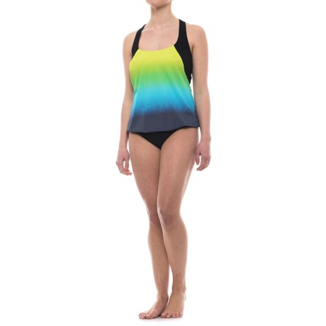 Profile Sports by Gottex Blouson Printed Tankini Set - UPF 50+, Molded Cups (For Women) in Blue Multi