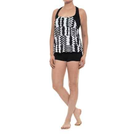Profile Sports by Gottex Blouson Racerback Tankini Set - UPF 50+, Attached Swim Bra (For Women) in Black/White - Closeouts