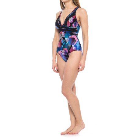 Profile Sports by Gottex Cosmos Deep-V Strappy Back One-Piece Swimsuit - UPF 50+ (For Women) in Multi
