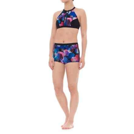 Profile Sports by Gottex Cosmos Strappy High-Neck Bikini Set - UPF 50+, Boy Shorts (For Women) in Multi - Closeouts