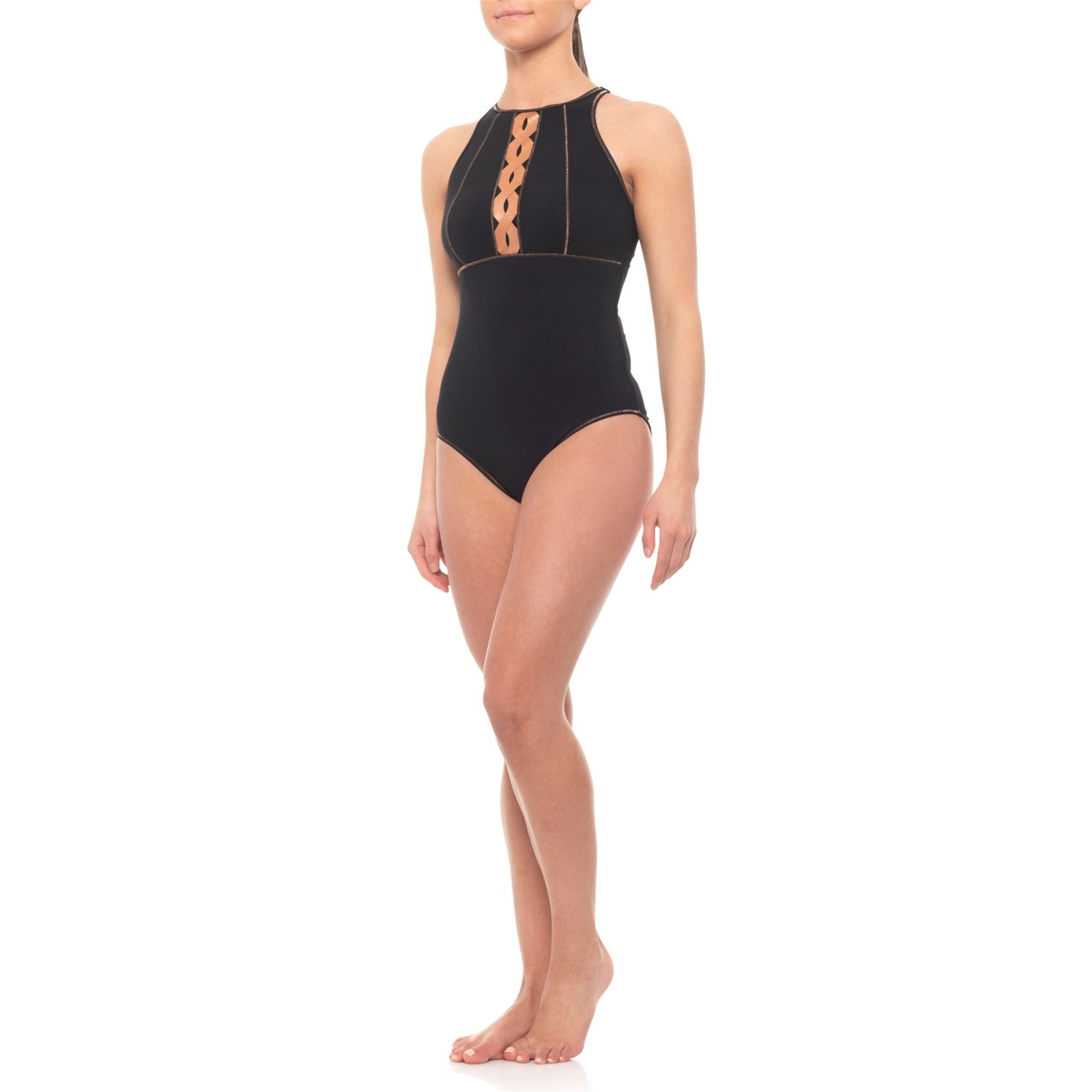 Profile Sports by Gottex DNA High-Neck V-Back One-Piece Swimsuit - UPF 50+  (For Women)