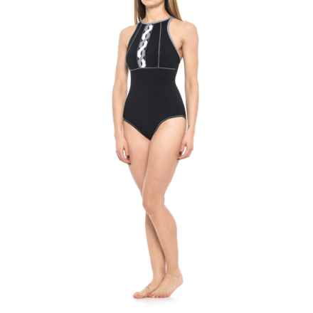 Profile Sports by Gottex DNA High-Neck V-Back One-Piece Swimsuit - UPF 50+ (For Women) in Black/White - Closeouts